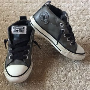 Leather Gray & Black High Top Converse - Size 11